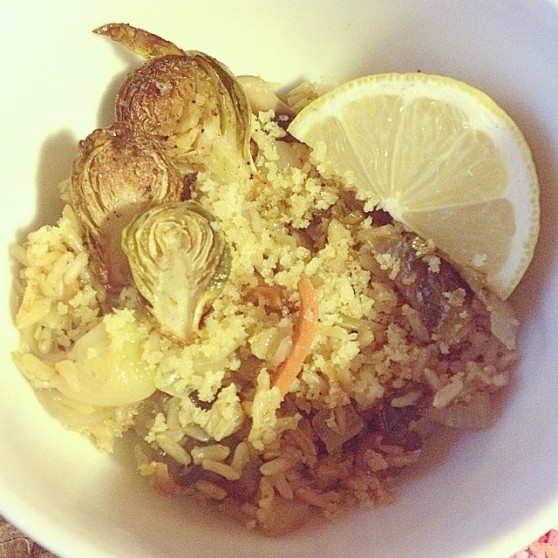 Brussel sprout pilaf
